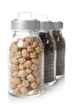 Glass jars of legumes Stock Photo