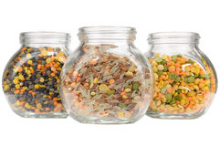 Glass Jars with Lentils, Rice and Split Peas Royalty Free Stock Photography