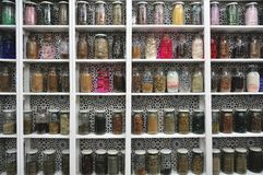 Glass Jars in a Moroccan Shop, Marrakech Royalty Free Stock Photo