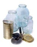 Glass jars och räkningar för beskydd Royaltyfri Foto