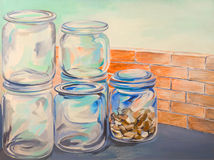 Glass jars oil painting. Oil painting of glass jars for conservation Royalty Free Stock Photo