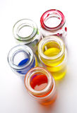 Glass jars with a paint Royalty Free Stock Photo