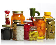 Glass Jars Of Preserved Food. Glass Jars Of Preserved Fruits And Vegetables Stock Photography