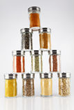 Glass jars with spices Stock Photography