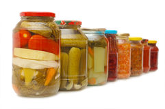 Glass jars with tinned vegetables Stock Photos