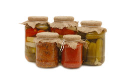 Glass jars with tinned vegetables Royalty Free Stock Photography