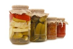 Glass jars with tinned vegetables Stock Image