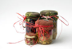 Jars of pickles. Glass jars of vegetables pickled Royalty Free Stock Images