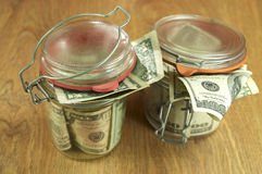 Glass Jars With Money Stock Photography