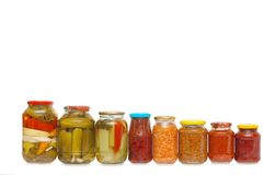Glass Jars With Tinned Vegetables Royalty Free Stock Image