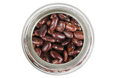 Glass jas of brown beans. top view Stock Photo