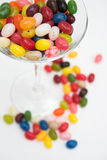 Glass of jelly beans stock photo