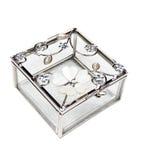 Glass jewelry box. Empty glass jewelry box isolated on white background Royalty Free Stock Photo