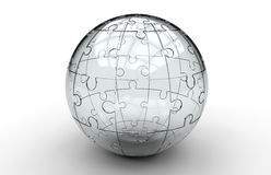 Glass jigsaw puzzle sphere Royalty Free Stock Image
