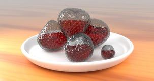 Glass jordgubbar med Juice Inside Them Arkivbilder