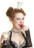 glass jordgubbevermuth för flicka Royaltyfri Bild