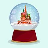 Glass jordklot för vektorjul med den fallande snön och St-basilikadomkyrka i den moscow royaltyfri illustrationer