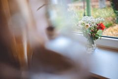 A glass jug with flowers in it stands on a white window sill, and outside the window you can see the home garden. royalty free stock photos