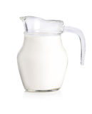 Glass jug of fresh milk isolated on white Royalty Free Stock Images