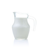 Glass jug of fresh milk isolated on white Royalty Free Stock Image