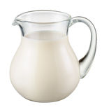 Glass jug of fresh milk isolated on white. With clipping path Royalty Free Stock Photo