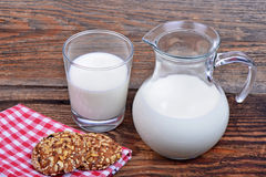 Glass jug with milk Royalty Free Stock Image