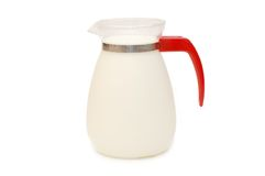Glass jug of milk isolated on white background Royalty Free Stock Image