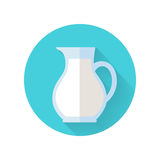 Glass Jug with Milk Isolated on White Background. Glass jug with milk. Milk container. Farm food. Milk icon. Retail store element. Simple drawing in flat style Stock Photography