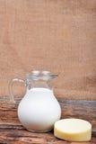 Glass jug with milk Royalty Free Stock Photos