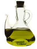 Glass jug with olive oil isolated on white Stock Photo