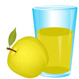 Glass of juice and apple stock illustration