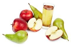 Glass of juice, apples and pears Royalty Free Stock Images