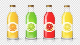 Glass juice bottle with citrus label template Packaging set vector.  vector illustration