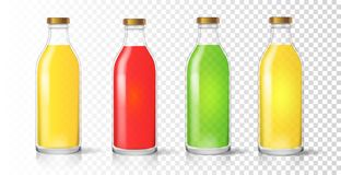 Glass juice bottle. Colored realistic packaging set vector.  Vector Illustration