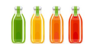 Glass juice bottles. Ecological beverage. Vegetarian healthy food. Orange, tomato, carrot eco drink. Isolated white background. Vector illustration vector illustration