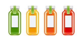 Glass juice bottles. Ecological beverage. Vegetarian healthy food. Orange, tomato, carrot eco drink. Isolated white background. Vector illustration stock illustration