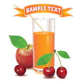 Glass for juice from cherries and red apple Stock Image
