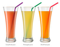 Glass of juice. Collection isolated on white. With clipping path Royalty Free Stock Images