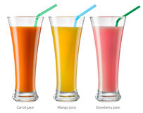 Glass of juice. Collection isolated on white. With clipping path Royalty Free Stock Photos