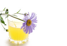 Glass of juice with daisy Stock Photo