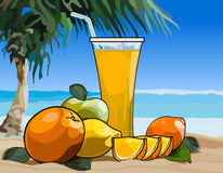 Glass of juice and fruit on the beach Stock Photo