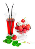Glass of juice with ice cream and strawberries Stock Photography