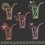 Glass of juice icon set stock photography