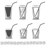 Glass of juice icon set Stock Images