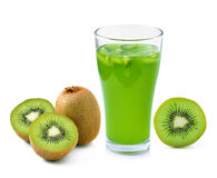 Glass of juice with kiwi Stock Images