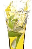 Glass with juice and lemon Royalty Free Stock Photos