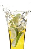 Glass with juice and lemon Royalty Free Stock Photography