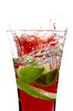 Glass with juice and lemon Royalty Free Stock Images
