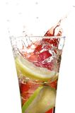 Glass with juice and lime Royalty Free Stock Image