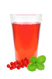 Glass of juice, mint and fresh currant berries Stock Images